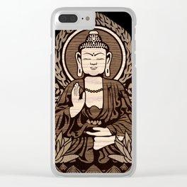 Siddhartha Gautama Buddha Wood Grain Clear iPhone Case