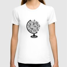 What a Wonderful World X-LARGE White Womens Fitted Tee