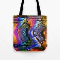 skiing Tote Bags featuring Swiftly Skiing by Robin Curtiss