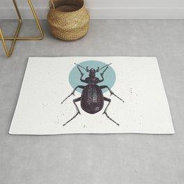 Beetle bug and yellow moon illustration Rug