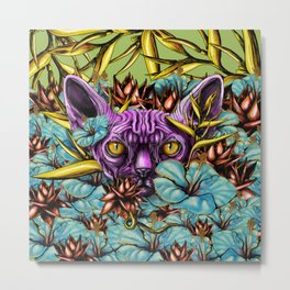 The Sphynx and the Flowers Metal Print