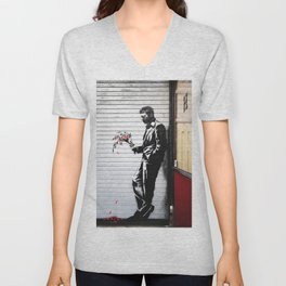 Banksy, Man with flowers Unisex V-Neck