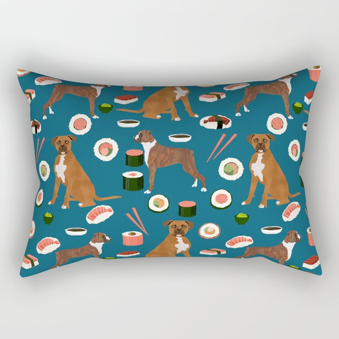 Boxer dog pattern sushi dog lover pet portraits boxers dog breed by pet friendly Rectangular Pillow