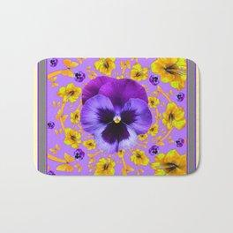 AMETHYST PANSIES YELLOW BUTTERFLIES & FLOWERS Bath Mat