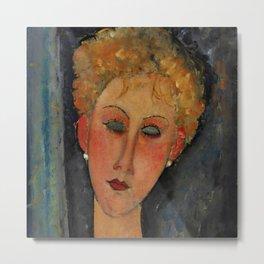 "Amedeo Modigliani ""A Blonde Wearing Earrings"" Metal Print"