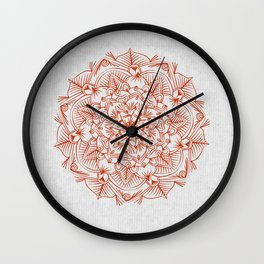 Rust Red Mandala on Japanese Rice Paper Wall Clock