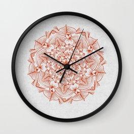 Rust Red Mandala on Japanese Rice Paper Wall Clock
