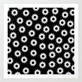 Daisies - Black BG Art Print
