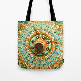 Rainbow Painted Cart Wheel Mandala Tote Bag