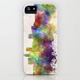 Des Moines skyline in watercolor background iPhone Case