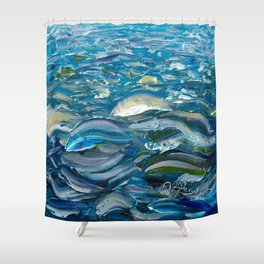 Original Oil Painting With Palette Knife On Canvas  Impressionist Roling Blue Sea Waves by OLena Art Shower Curtain