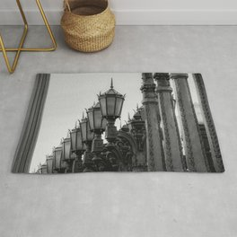 Urban Light at LACMA Los Angeles California USA in black and white Rug