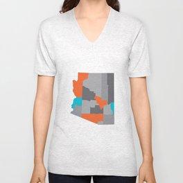 Arizona State Map Print Unisex V-Neck