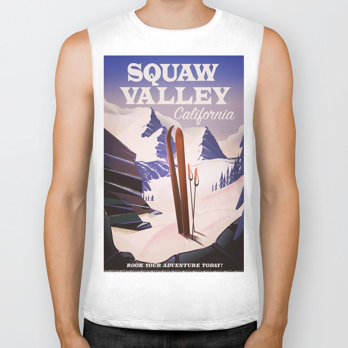 Squaw Valley California Ski poster. Biker Tank