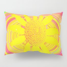 Yellow Sunflower on a Fuchsia Psychedelic Swirl Pillow Sham