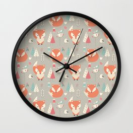 Baby fox pattern 01 Wall Clock