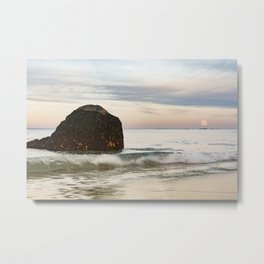 Pastel Moon rise at the beach Metal Print