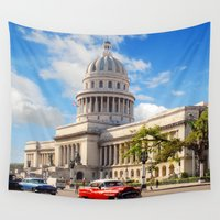 cuba Wall Tapestries featuring El Capitolio, Cuba by Parrish
