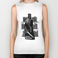 library Biker Tanks featuring Library Revenant by Sam Mameli