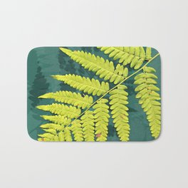 From the forest - lime green on teal Bath Mat