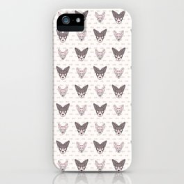Cute cartoon pet sphynx kitten and cat face. Pedigree exotic kitty breed domestic cat background. Cat lover black Asian purebred. Hairless feline.  iPhone Case