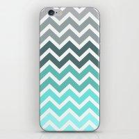 chevron iPhone & iPod Skins featuring Tiffany Fade Chevron Pattern by RexLambo