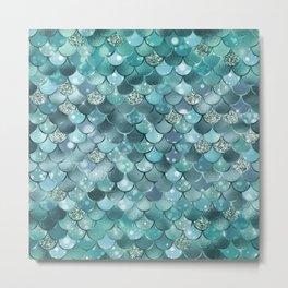 Mermaid Scales Aqua Turquoise Mermaid Pattern Metal Print