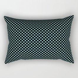 Black and Aqua Sea Polka Dots Rectangular Pillow