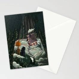 the witch in the gingerbreadhouse Stationery Cards