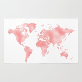 Pink Shiny Metal Foil Rose Gold World Map Rug