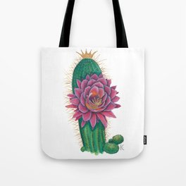 Crowned Cactus with Pink Flower Blossom Tote Bag