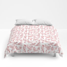 Winter Birds and Foliage Pattern (Red) Comforters