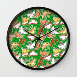 """Oro?"" Christmas Series GREEN Wall Clock"