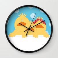 ducks Wall Clocks featuring Ducks by SANTA