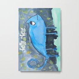 Blue Gecko watercolor Metal Print