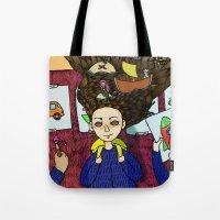 school Tote Bags featuring SCHOOL by nu boniglio