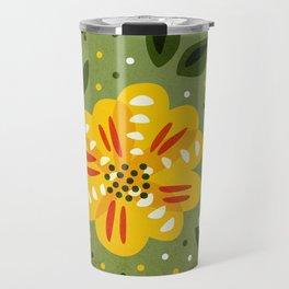 Abstract Yellow Primrose Flower Travel Mug