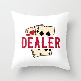 Casino Card Dealer I Poker I Blackjack print Throw Pillow