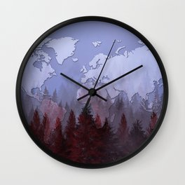 world map forest 2 Wall Clock