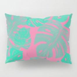 Linocut Monstera Pink Pillow Sham