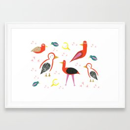 Birds and footprints Framed Art Print