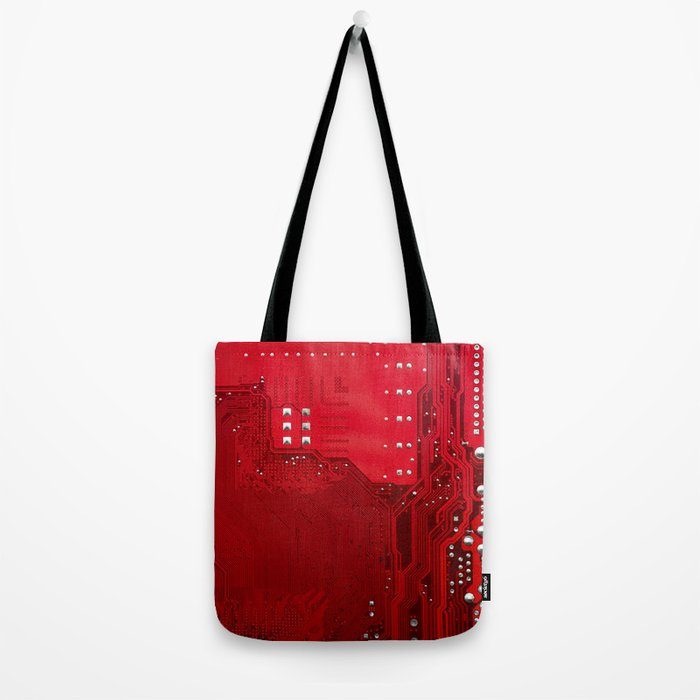red electronic circuit board Tote Bag