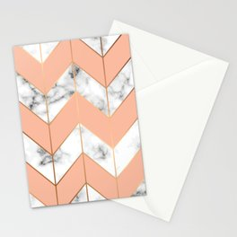 WHITE MARBLE WITH GOLD AND ROSE CHEVRON Stationery Cards