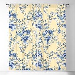 Chinoiserie Flowers Blue on Lemon Honey Creme Blackout Curtain