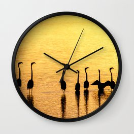 Silhouette of Pink Flamingos Wall Clock