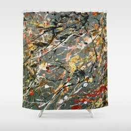 Jackson Pollock Interpretation Acrylics On Canvas Splash Drip Action Painting Shower Curtain