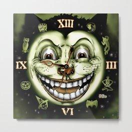 Black Cat 13 Halloween Clock Metal Print