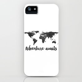 Printable Adventure Awaits World Map Poster, Navy Travel Quote Print, JPG File, Instant Download iPhone Case