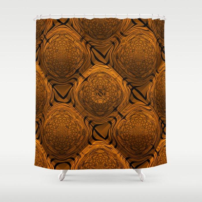 Power Pattern 04 orange Shower Curtain