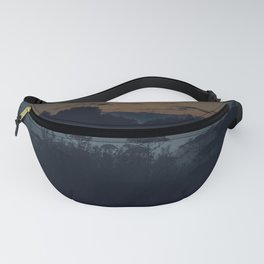 [34] Fog in the evening forest, nature, travel, night Fanny Pack